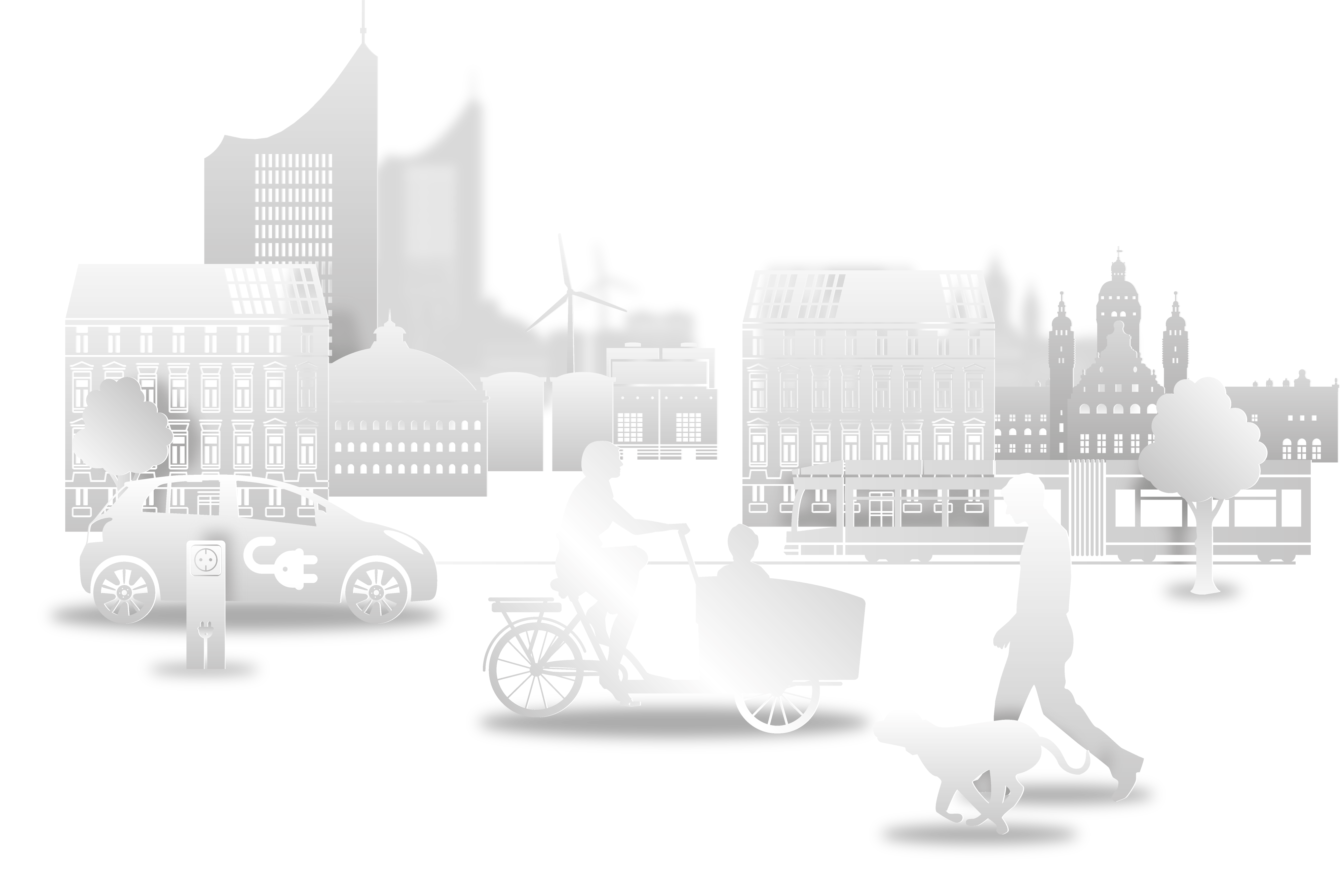 Grafik Leipzig Skyline