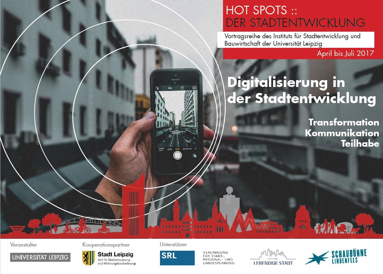 Flyer zu Hot Spots, Aufschrift: Digitalisierung in der Stadtentwicklung