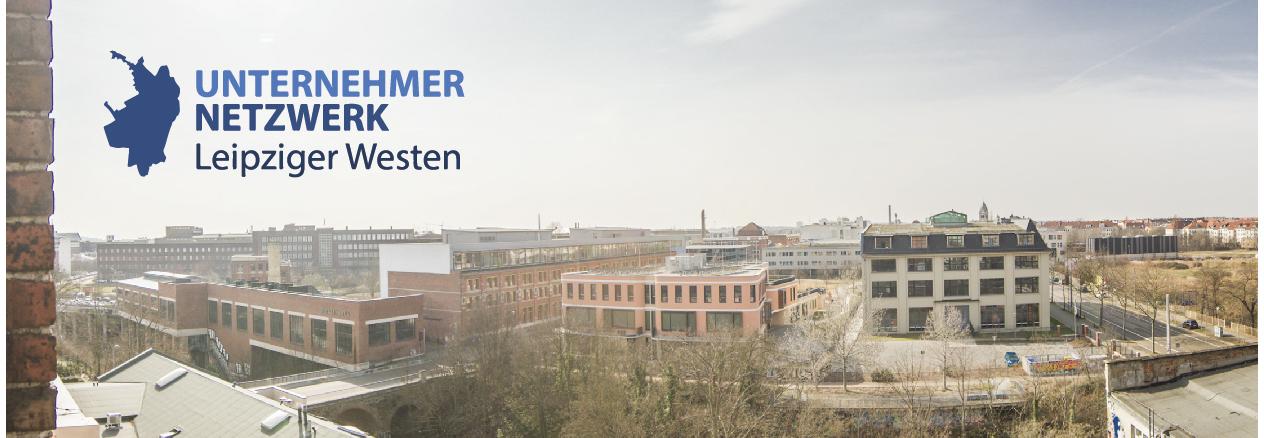 Foto vom Leipziger Westen, Aufschrift: Unternehmer Netzwerk Leipziger Westen