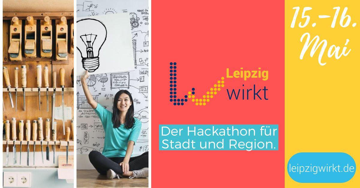 Flyer für Leipzig wirk. Aufschrift: der Hackathon für Stadt und Region, 15.-16. Mai