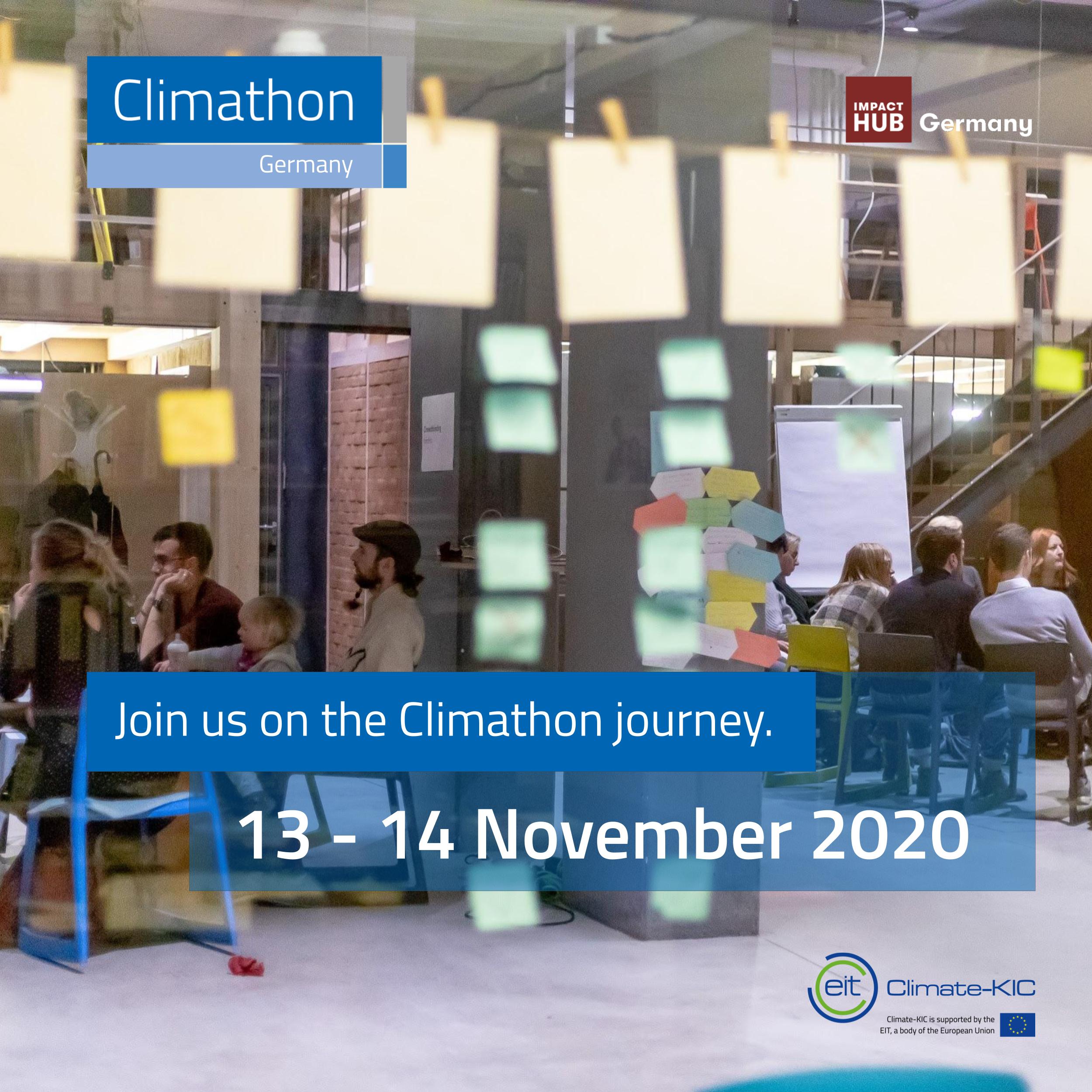 Foto von zusammensitzenden Menschen, post its auf einer Glaswand im Vordergrund, Aufschrift: Join us on the Climathon journey. 13.-14. November 2020