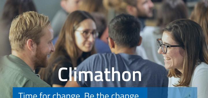 Foto von zusammensitzenden Menschen, Aufschrift: Climathon, Time for change. Be the change. 13.-14. November 2020
