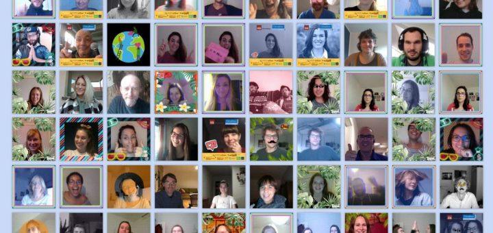 90 Fotos von Menschen vor ihrem Bildschirm bei Videokonferenzen, Bildüberschrift: CLIMATHON 2020
