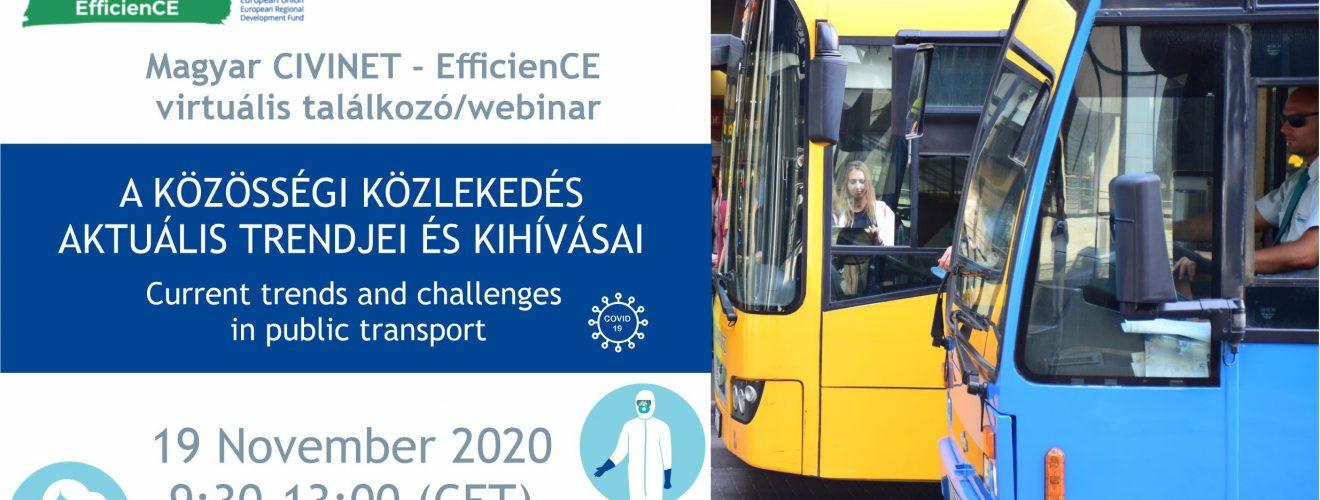 zweigeteiltes Bild, rechts Foto von Straßenbahn und Bus, links Flyer von EfficenCE