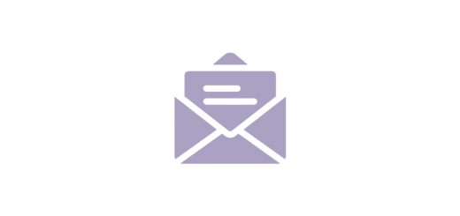 Logo Symbol von geöffnetem Brief in hellelm Lila auf weißem Untergrund