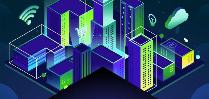 """Neonblau- und grüne Gebäude mit Wlan-Symbol, Stromblitz-Symbol und weiteren Symbolen, im Vordergrund der Titel """"Urbane Daten"""""""
