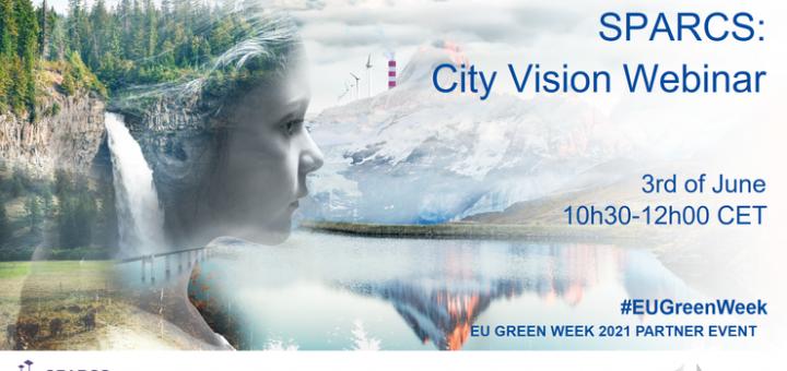 Flyer für SPARCS City Vision Webinar alle Infos im Artikel, im Hintergrund ein Foto eines Mädchens im Profil, sie trägt Wald als Haare und blickt auf einen See vor einem beschneiten Berg